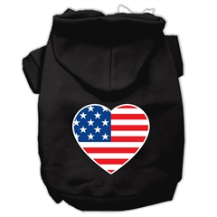Mirage Pet Products American Flag Heart Screen Print Pet Hoodies Black Size Med (12)