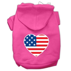 Mirage Pet Products American Flag Heart Screen Print Pet Hoodies Bright Pink Size XS (8)