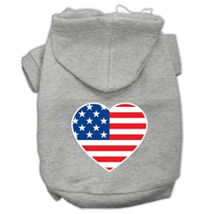 Mirage Pet Products American Flag Heart Screen Print Pet Hoodies Grey Size Sm (10)