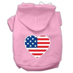 Mirage Pet Products American Flag Heart Screen Print Pet Hoodies Light Pink Size XXXL (20)