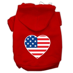 Mirage Pet Products American Flag Heart Screen Print Pet Hoodies Red Size Sm (10)