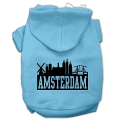 Mirage Pet Products Amsterdam Skyline Screen Print Pet Hoodies Baby Blue Size Med (12)