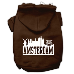 Mirage Pet Products Amsterdam Skyline Screen Print Pet Hoodies Brown Size XS (8)
