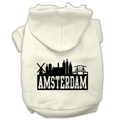 Mirage Pet Products Amsterdam Skyline Screen Print Pet Hoodies Cream Size XS (8)