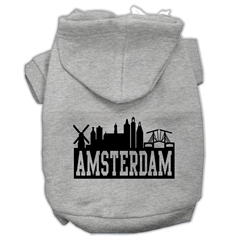 Mirage Pet Products Amsterdam Skyline Screen Print Pet Hoodies Grey Size Sm (10)
