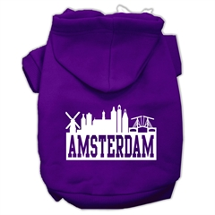 Mirage Pet Products Amsterdam Skyline Screen Print Pet Hoodies Purple Size Lg (14)