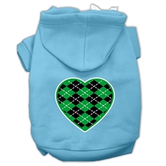 Mirage Pet Products Argyle Heart Green Screen Print Pet Hoodies Baby Blue Size Lg (14)
