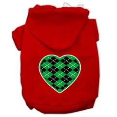 Mirage Pet Products Argyle Heart Green Screen Print Pet Hoodies Red Size Sm (10)