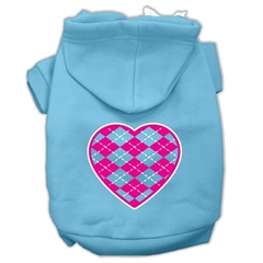 Mirage Pet Products Argyle Heart Pink Screen Print Pet Hoodies Baby Blue Size Med (12)