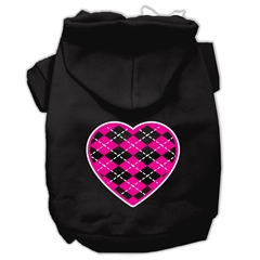 Mirage Pet Products Argyle Heart Pink Screen Print Pet Hoodies Black Size XS (8)