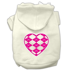 Mirage Pet Products Argyle Heart Pink Screen Print Pet Hoodies Cream Size L (14)