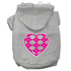 Mirage Pet Products Argyle Heart Pink Screen Print Pet Hoodies Grey Size Sm (10)