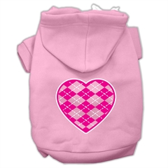 Mirage Pet Products Argyle Heart Pink Screen Print Pet Hoodies Light Pink Size XXL (18)