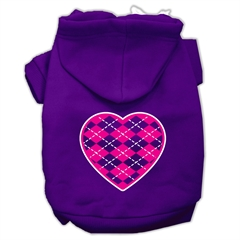 Mirage Pet Products Argyle Heart Pink Screen Print Pet Hoodies Purple Size XXL (18)