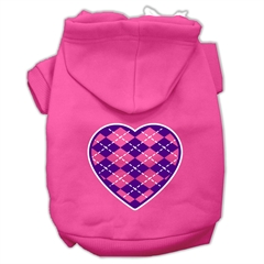 Mirage Pet Products Argyle Heart Purple Screen Print Pet Hoodies Bright Pink Size XXL (18)