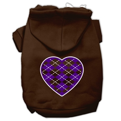 Mirage Pet Products Argyle Heart Purple Screen Print Pet Hoodies Brown Size XXXL (20)