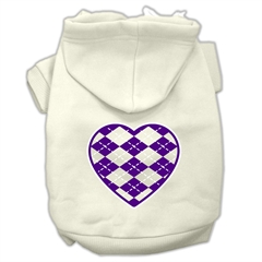 Mirage Pet Products Argyle Heart Purple Screen Print Pet Hoodies Cream Size S (10)