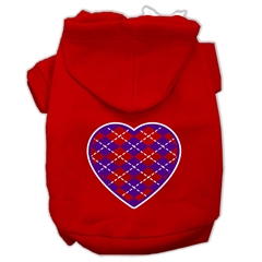 Mirage Pet Products Argyle Heart Purple Screen Print Pet Hoodies Red Size Med (12)