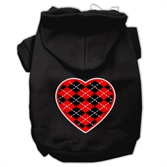 Mirage Pet Products Argyle Heart Red Screen Print Pet Hoodies Black Size Sm (10)
