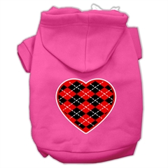 Mirage Pet Products Argyle Heart Red Screen Print Pet Hoodies Bright Pink Size Sm (10)