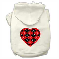 Mirage Pet Products Argyle Heart Red Screen Print Pet Hoodies Cream Size M (12)