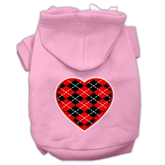 Mirage Pet Products Argyle Heart Red Screen Print Pet Hoodies Light Pink Size Sm (10)