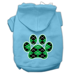 Mirage Pet Products Argyle Paw Green Screen Print Pet Hoodies Baby Blue Size XL (16)