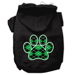 Mirage Pet Products Argyle Paw Green Screen Print Pet Hoodies Black Size XXXL (20)