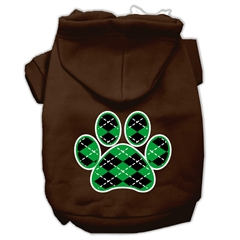 Mirage Pet Products Argyle Paw Green Screen Print Pet Hoodies Brown Size XL (16)