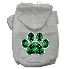 Mirage Pet Products Argyle Paw Green Screen Print Pet Hoodies Grey Size XXXL (20)
