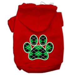 Mirage Pet Products Argyle Paw Green Screen Print Pet Hoodies Red Size Sm (10)