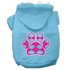 Mirage Pet Products Argyle Paw Pink Screen Print Pet Hoodies Baby Blue Size Lg (14)