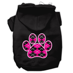 Mirage Pet Products Argyle Paw Pink Screen Print Pet Hoodies Black Size XL (16)