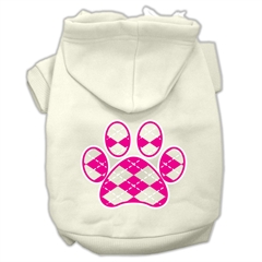 Mirage Pet Products Argyle Paw Pink Screen Print Pet Hoodies Cream Size L (14)