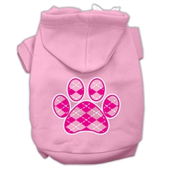Mirage Pet Products Argyle Paw Pink Screen Print Pet Hoodies Light Pink Size Med (12)