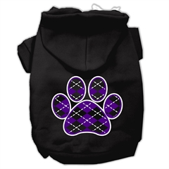 Mirage Pet Products Argyle Paw Purple Screen Print Pet Hoodies Black Size XL (16)