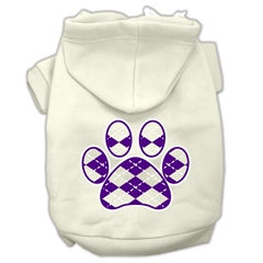 Mirage Pet Products Argyle Paw Purple Screen Print Pet Hoodies Cream Size S (10)