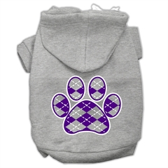 Mirage Pet Products Argyle Paw Purple Screen Print Pet Hoodies Grey Size XL (16)