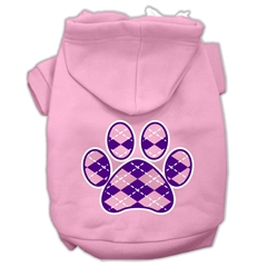 Mirage Pet Products Argyle Paw Purple Screen Print Pet Hoodies Light Pink Size XS (8)