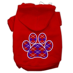 Mirage Pet Products Argyle Paw Purple Screen Print Pet Hoodies Red Size Lg (14)
