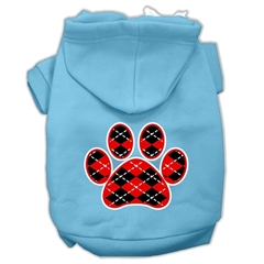 Mirage Pet Products Argyle Paw Red Screen Print Pet Hoodies Baby Blue Size Lg (14)
