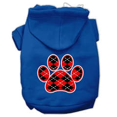 Mirage Pet Products Argyle Paw Red Screen Print Pet Hoodies Blue Size Lg (14)