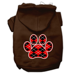 Mirage Pet Products Argyle Paw Red Screen Print Pet Hoodies Brown Size XS (8)