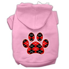 Mirage Pet Products Argyle Paw Red Screen Print Pet Hoodies Light Pink Size XXL (18)