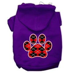 Mirage Pet Products Argyle Paw Red Screen Print Pet Hoodies Purple Size Sm (10)