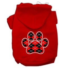 Mirage Pet Products Argyle Paw Red Screen Print Pet Hoodies Red Size XS (8)