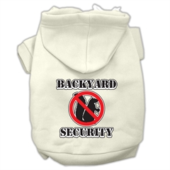 Mirage Pet Products Backyard Security Screen Print Pet Hoodies Cream Size S (10)