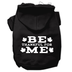 Mirage Pet Products Be Thankful for Me Screen Print Pet Hoodies Black Size XXXL(20)