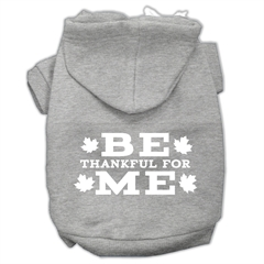 Mirage Pet Products Be Thankful for Me Screen Print Pet Hoodies Grey Size M (12)