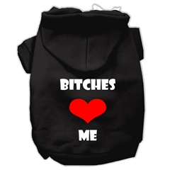 Mirage Pet Products Bitches Love Me Screen Print Pet Hoodies Black Size XL (16)